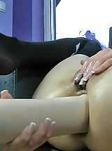dildo and fisting, Hot Kink Jo desperate housewife inserting huge dildo Monster Huge Sex Toys