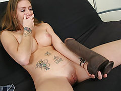 dildo pictures, Jenna inserting a giant dildo