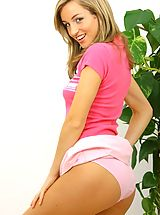 Melanie in a cute pink top and dress.
