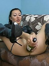 Hot Kink Jo bottle fucking deep inside ass Monster Huge Sex Toys