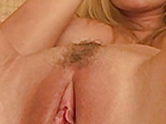 Alison Angelm plays with her new dildo