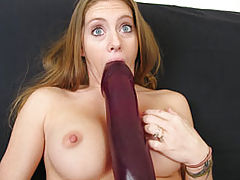 Jenna stretching her cunt with a monster dildo