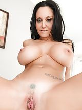 Bill Bailey, Ava Addams Sinful Slut exposes her bare tits, draws down her under garments and spreads her limbs and diddles her tight-fitting pussy