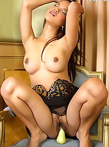 Asian Women lily tang 09 secretary lingerie fruits food vegetables
